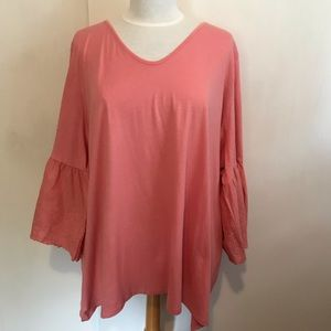 WOMAN WITHIN NEW! coral fancy tee embroidered trim